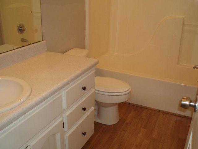 spare bathroom white vanity