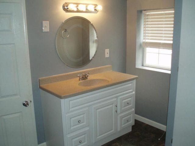 white basement vanity