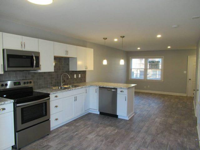 kitchen peninsula into living area